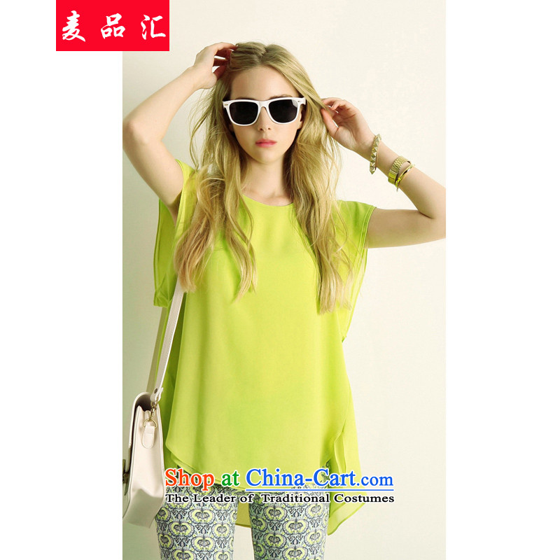 Mr Hui2015 new products for summer larger female thick mm loose video thin to xl chiffon short-sleeved shirt Stamp Pack608 Sau San shortsyellow T-shirt and shorts5XL Kit