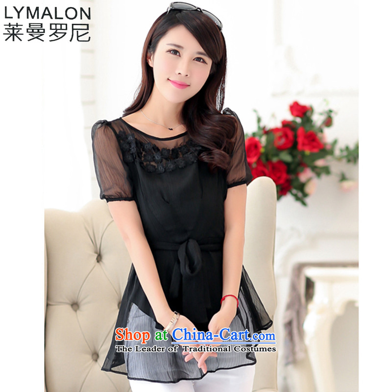 The lymalon lehmann thick, Hin thin 2015 Summer new Korean version of large numbers of ladies thick mm to increase short-sleeved T-shirt chiffon 1461 Black燲XXL