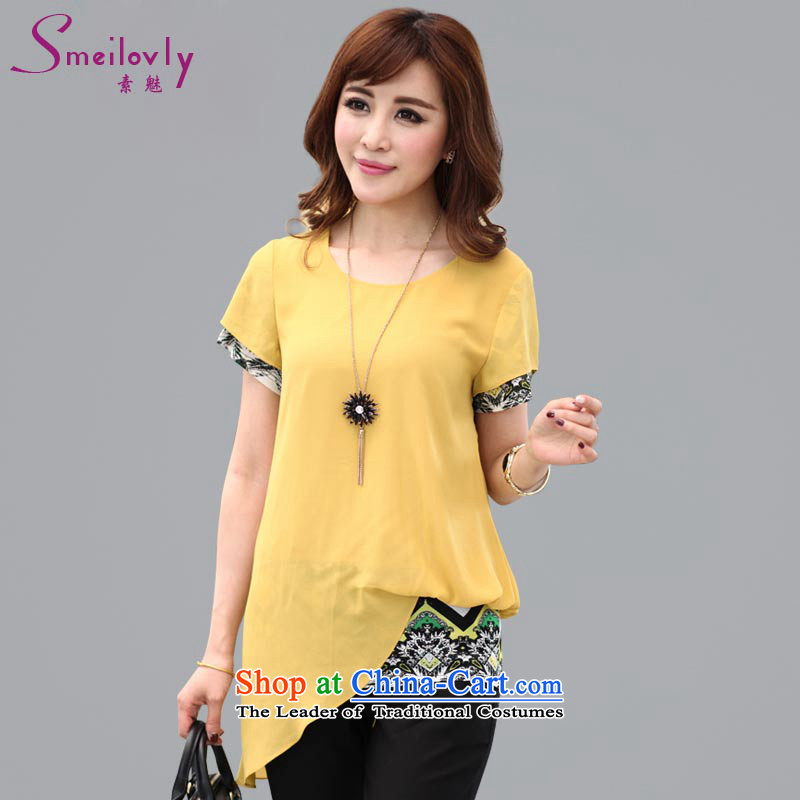 The Director of the ventricular hypertrophy code 200 catties women in spring and summer 2015 new Korean short-sleeved leave two thick sister video thin chiffon T-shirt 1303 Large Yellow 5XL around 922.747 200