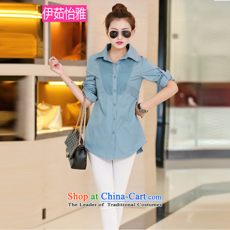 El-ju�15 Autumn Yee Nga New_ Knitting stitching graphics thin long-sleeved shirt with larger female RZ8269 BLUE燲L
