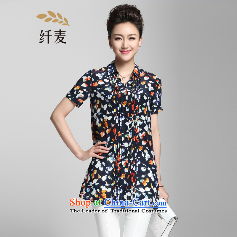 The former Yugoslavia Migdal Code women 2015 Summer new stylish mm thick color plane short-sleeved shirt with floral�2015230爏uit�L