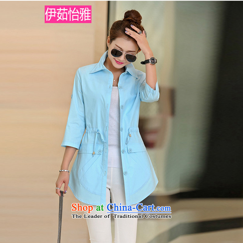 El-ju�15 Autumn Yee Nga replacing 9 cuff drawcord leisure centers large MM female Dress Shirt RZ5061 BLUE燲L