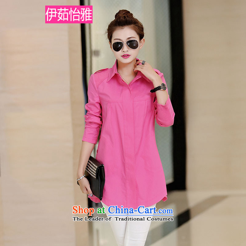 El-ju Yee Nga Korean autumn 2015 replacing knitting stitching leisure long-sleeved blouses and large cotton shirt RZ5063 better red XXL