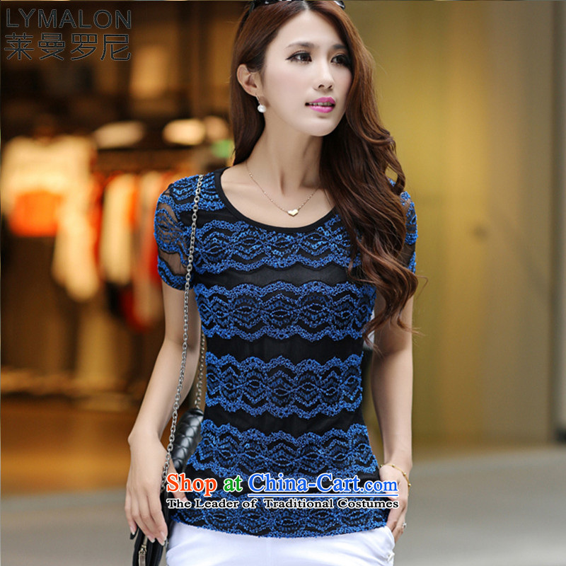 The lymalon lehmann thick, Hin thin 2015 Summer new Korean version of large numbers of ladies thick mm to increase short-sleeved T-shirt 3001 Blue燲XXXL