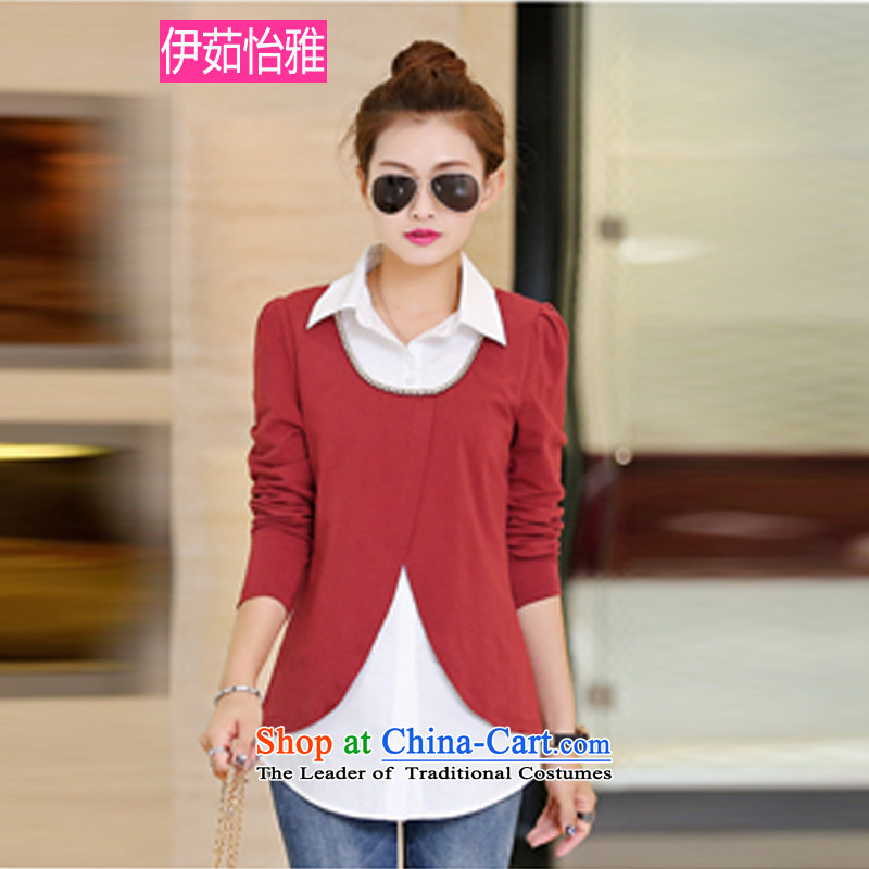 El-ju Yee Nga larger women2015 Spring leave 2 long-sleeved knitted shirts YZ5180 BOURDEAUXXL