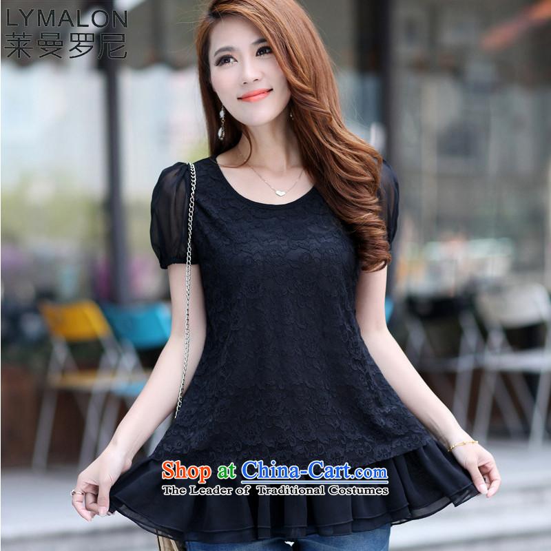 The lymalon lehmann thick, Hin thin Summer 2015 mm thick new product version won large wild women short-sleeved T-shirt lace shirt 7010 Black5XL
