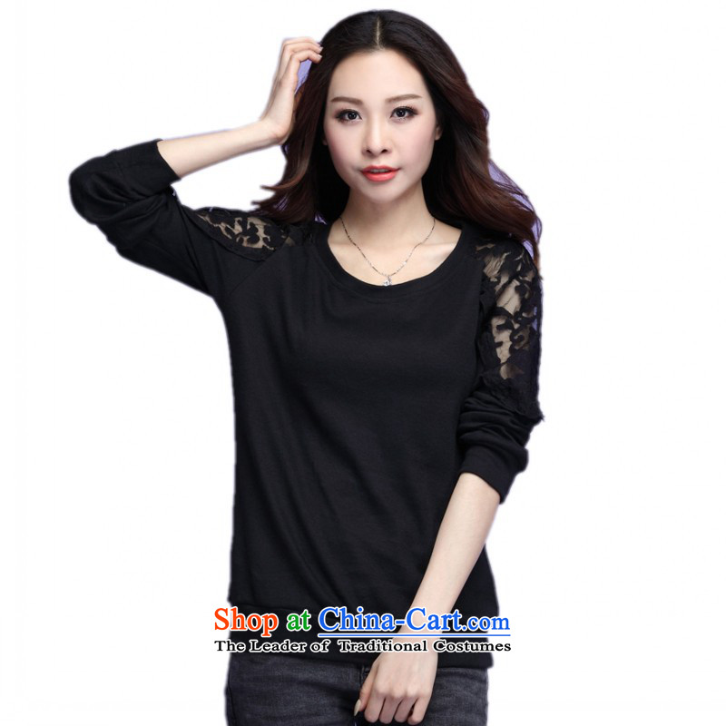 C.o.d. plus obesity mm T-shirts autumn 2015 new boxed lace long-sleeved T-shirt wild-wool round-neck collar video large thin black shirt 3XL approximately 60-175 catty