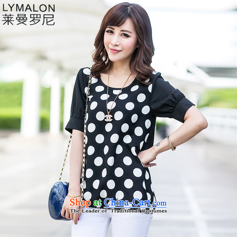 The lymalon lehmann thick, Hin thin Summer 2015 mm thick new product version won large wild women short-sleeved T-shirt chiffon shirt 5001 Black聽XXXL