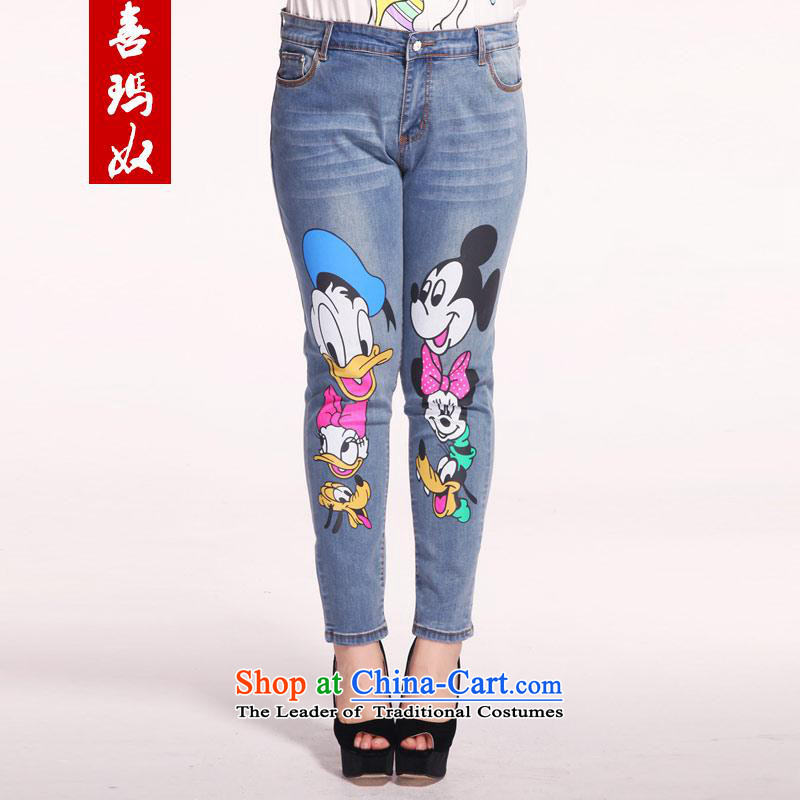 Hei Fat New Slave Princess sister video thin large decorated in female cartoon castor jeans female pencil shorts M21179 9 Blue?40