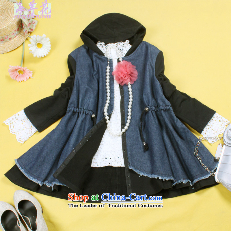 The sea route to spend knitting cuff can be Foutune of dolls shirt windbreaker loose general_ thick large windshield cowboy 5C2530S BLUE聽3XL Jacket
