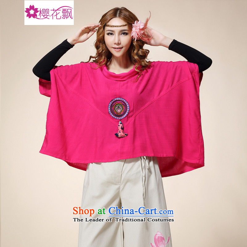 Cherry blossoms drift�15 new large ethnic women stereo pendants bat sleeves blouse of liberal red large numbers for the code