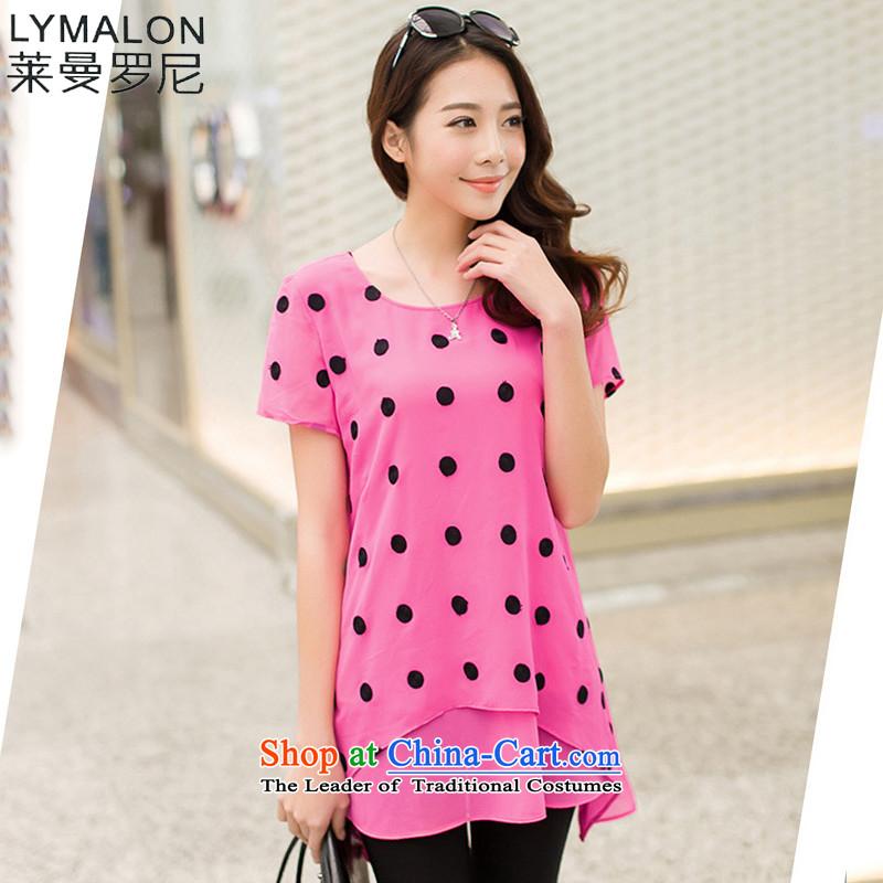 The lymalon lehmann thick, Hin thin Summer 2015 mm thick new large wild women to increase short-sleeved T-shirt chiffon 5009 roseXL