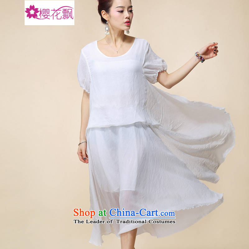 Cherry blossoms floating in the summer of 2015, the original new cotton retro dresses large relaxd dress code are white
