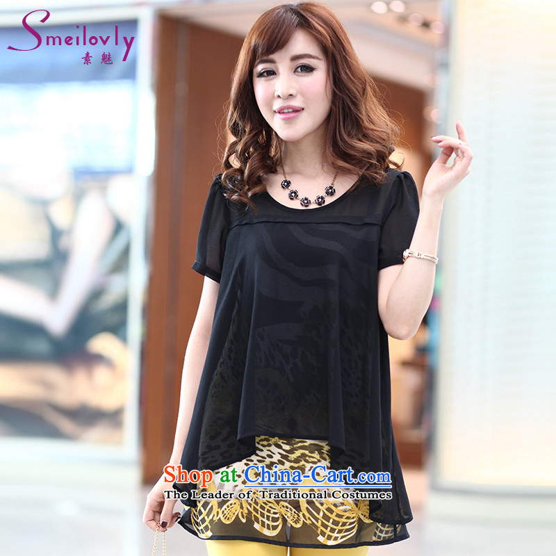 So clearly to xl female thick mm summer new product version Korea leave two kits and short-sleeved T-shirt chiffon thick sister1306Black Large 3XL code around 922.747 160