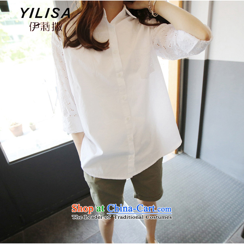 The Korean version of the new YILISA summer code blouses shirt thick MM summer 200 catties leisure loose wild biological air drying H5111燲XXL white爏uitable for 165-200 catty