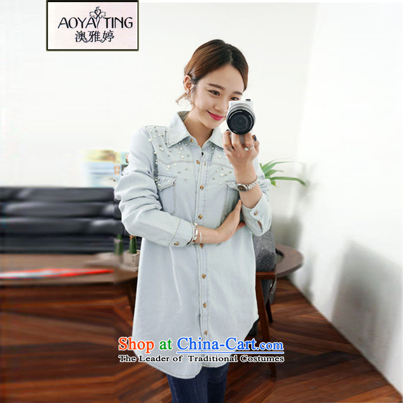 O Ya-ting thick mm to the ad xl women in spring and autumn 2015 NEW SHIRT spring cowboy jacket coat 61-05 thin light gray 2XL 125-145 recommends that you Jin