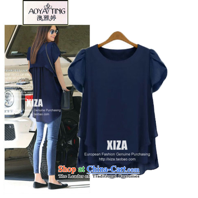 O Ya-ting2015 Women's new clothes to xl short-sleeved shirt leave both the chiffon T-shirts summer20-50dark blue2XLrecommends that you 125-150 catty