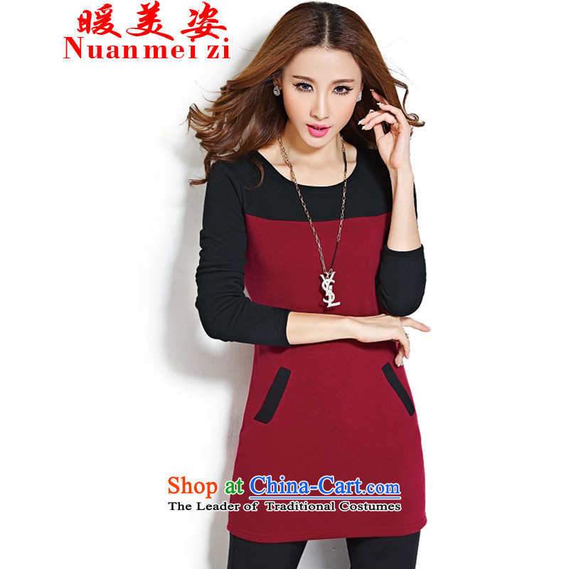 The warm beauty of the 2015 autumn and winter new large decorated in package and female dresses in long-lint-free long-sleeved forming the warm thick clothes female : 8189 XXXL wine red
