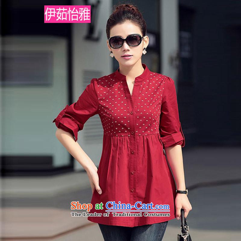 El-ju�15 Autumn Yee Nga new boxed version stamp large Korean Beauty Code women's long-sleeved shirt RY50068 large red燣