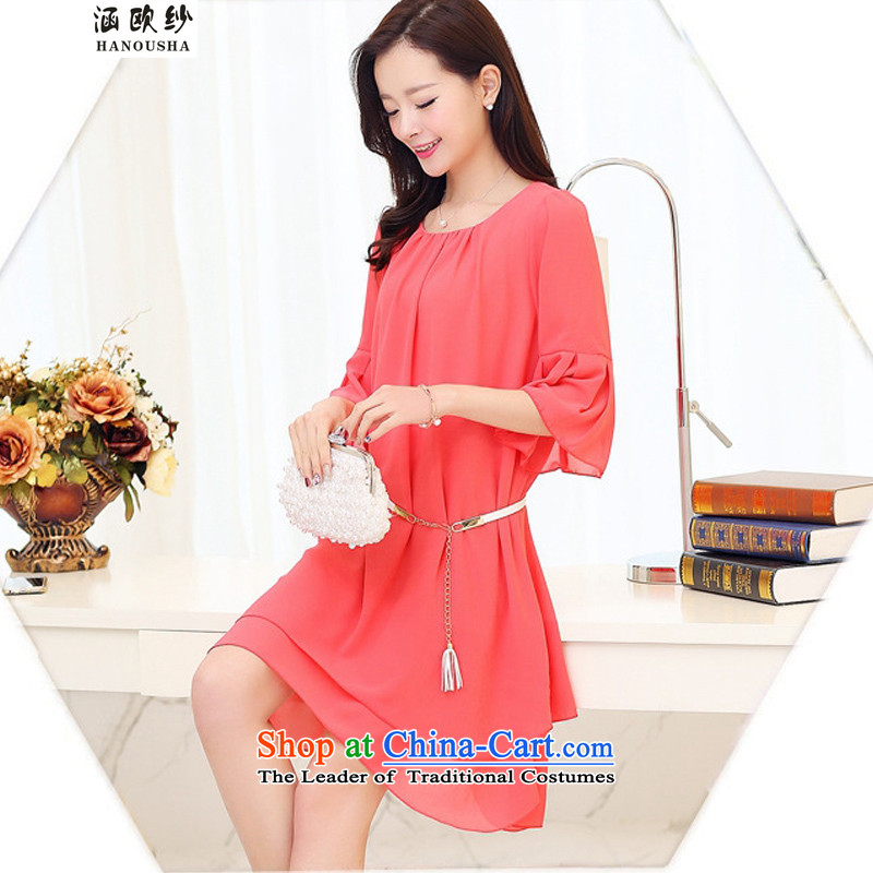 Euro�15 yarn covered by the new spring to increase women's code thick mm thin niba cuff pregnant women video dresses video thin watermelon red燲L