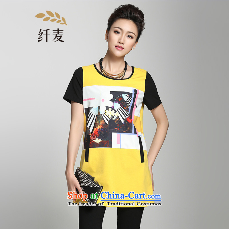 The former Yugoslavia Migdal Code women 2015 Summer new stylish mm thick abstract short-sleeved T-shirt, long female 952153889 Yellow2XL