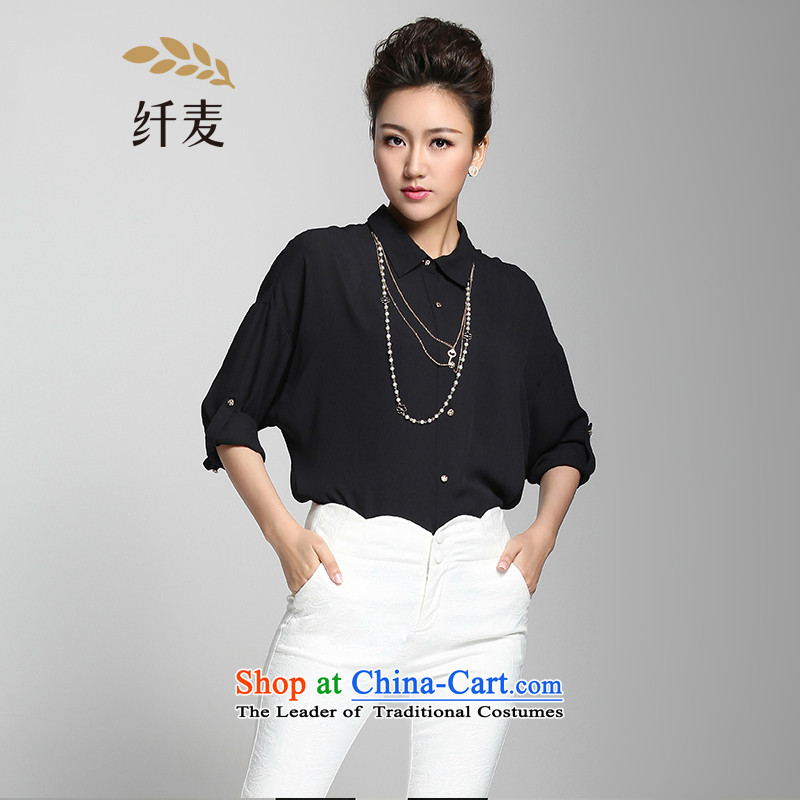 The former Yugoslavia Migdal Code women 2015 Summer new thick mm Korean loose lapel long-sleeved shirt�2011233牋3XL black