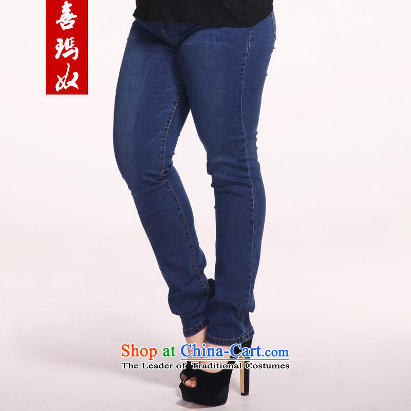 Hee-won new slave princess version of large numbers of ladies thick MM Stretch video thin jeans women Sau San Castor pencil trousers M25019 blue聽34 Code