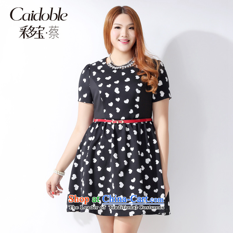 How large the Po Women 2015 Spring_Summer new Korean MM thick high back straight and tighten your abdomen small wrinkles black and white mahogany and video short-sleeved thin dresses Q10613XL black