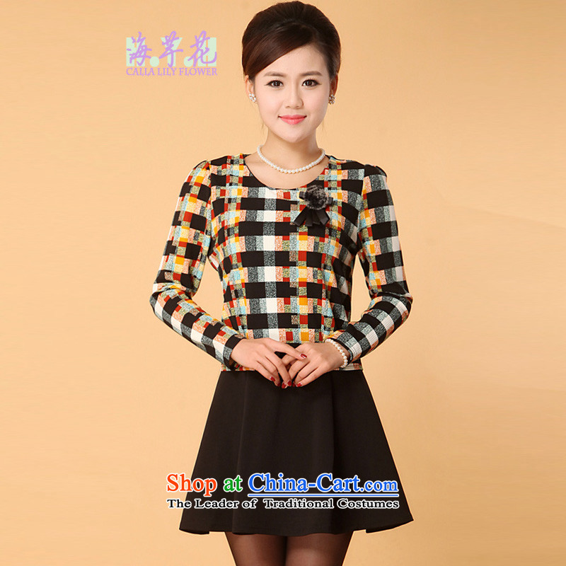 The sea route take the Korean version of the video coltish waist round-neck collar elegant stamp forming the basis of the spring and autumn of Sau San wear dresses�4214 code爋range small square�L