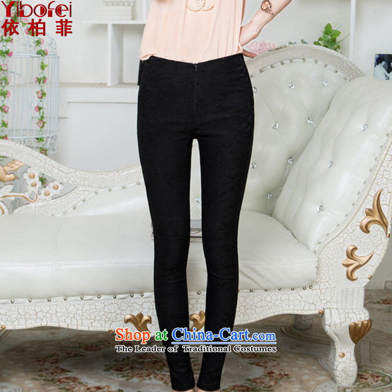 In accordance with the perfect爏pring and summer 2015 New Fat MM to xl elastic Sau San video lace forming the thin trousers castor Y2088 female black燲XXL trousers