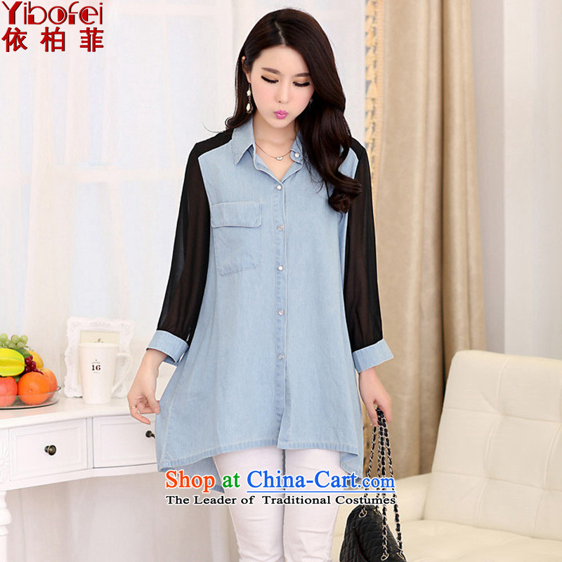 In accordance with the爊ew 2015 perfect Fat MM to extra loose video thin chiffon stitching long cowboy yi shirt female燳2091燬KYBLUE�L