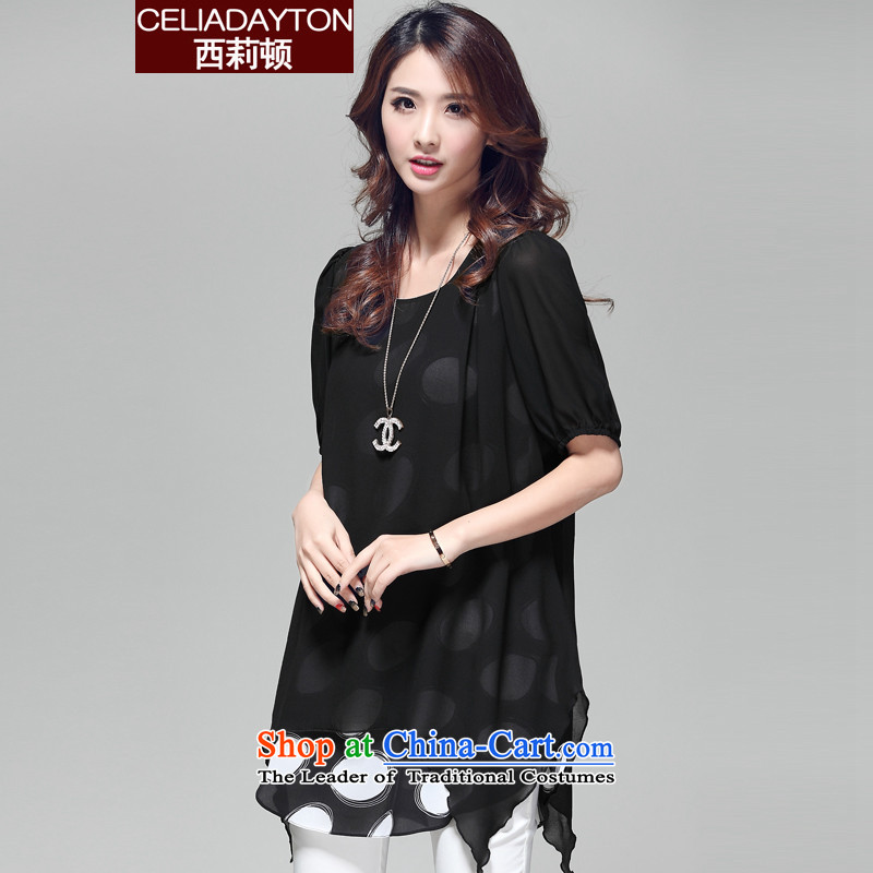 Szili Korean version xl women 2015 new fat mm summer stylish relaxd in two false long chiffon shirt is a personalized knocked color schemes for the female black燲XXXL T-Shirt