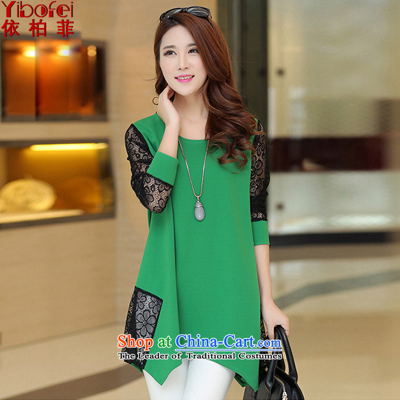 In accordance with the perfect spring 2015 the new SISTER to thick extra loose video thin lace stitching long-sleeved dresses female Y2092 green 4XL