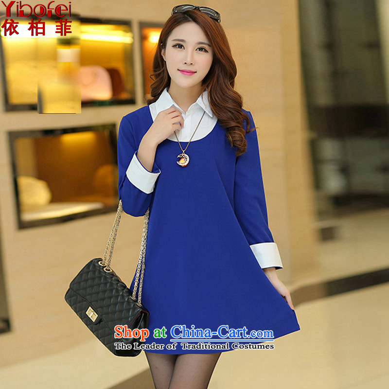 In accordance with the perfect 2015 Spring sister thick new Korean to xl loose video in thin long shirt collar female Y2093 BLUE XXL
