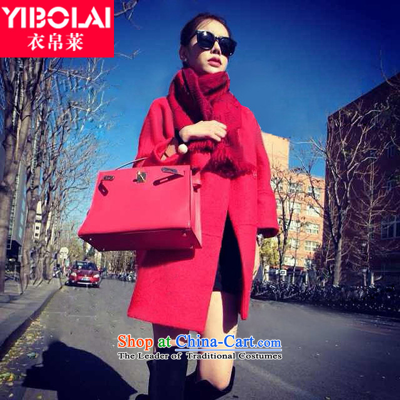 Yi Shu'�15 autumn and winter new Korean female overcoat so gross in long large relaxd wool a windbreaker thick wild red燣