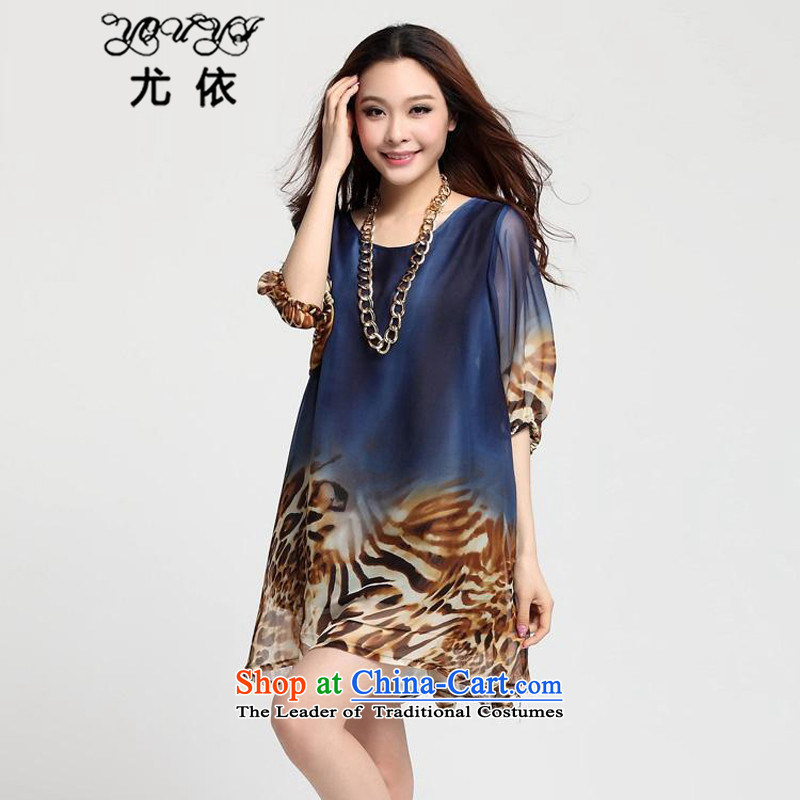 In accordance with the 2015 Women's particularly large fat mm stamp in Top Loin of loose in the Cuff long chiffon dresses summer YQ058 leopard blue L