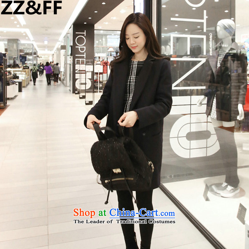 Zz_ff爔l women 200 catties a wool coat thick mm autumn and winter graphics thin thick sister long hair? Navy燲XXL Jacket