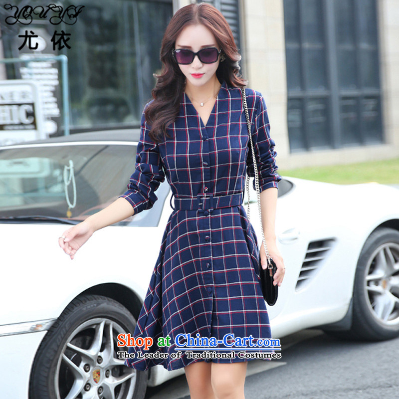 In accordance with the 2015 autumn and winter is particularly new mm thick Korean Plaid shirt for larger women to increase video thin long-sleeved dresses YQ057 picture color XXL