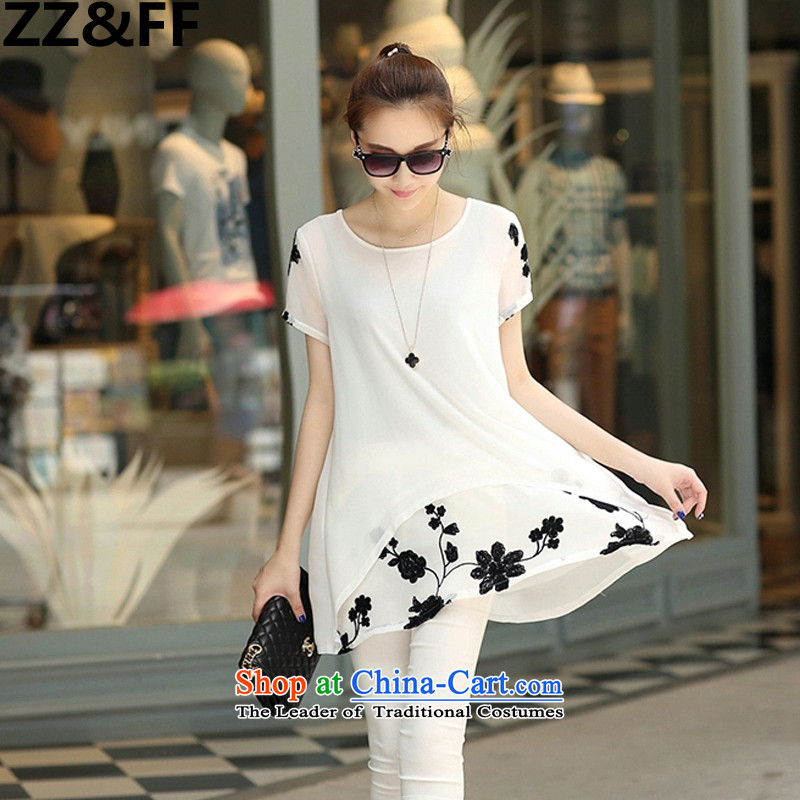 2015 Summer Zz_ff new short-sleeved T-shirt chiffon leave two kits thick MM to increase women's code loose short-sleeved white dresses S