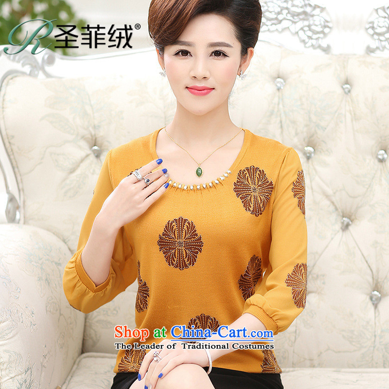 Santa Fe 2015 new mother lint-free products. older lady knitted shirts spring and summer shirt chiffon in the middle-aged _ Cuff T shirt Yellow M
