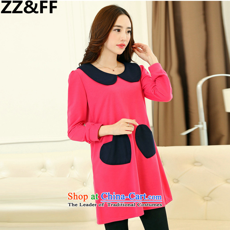 Install the latest Autumn 2015 Zz_ff, Korean style skirts to pregnant women xl women thick mm200 catty long-sleeved dresses XXXL Cherry Red