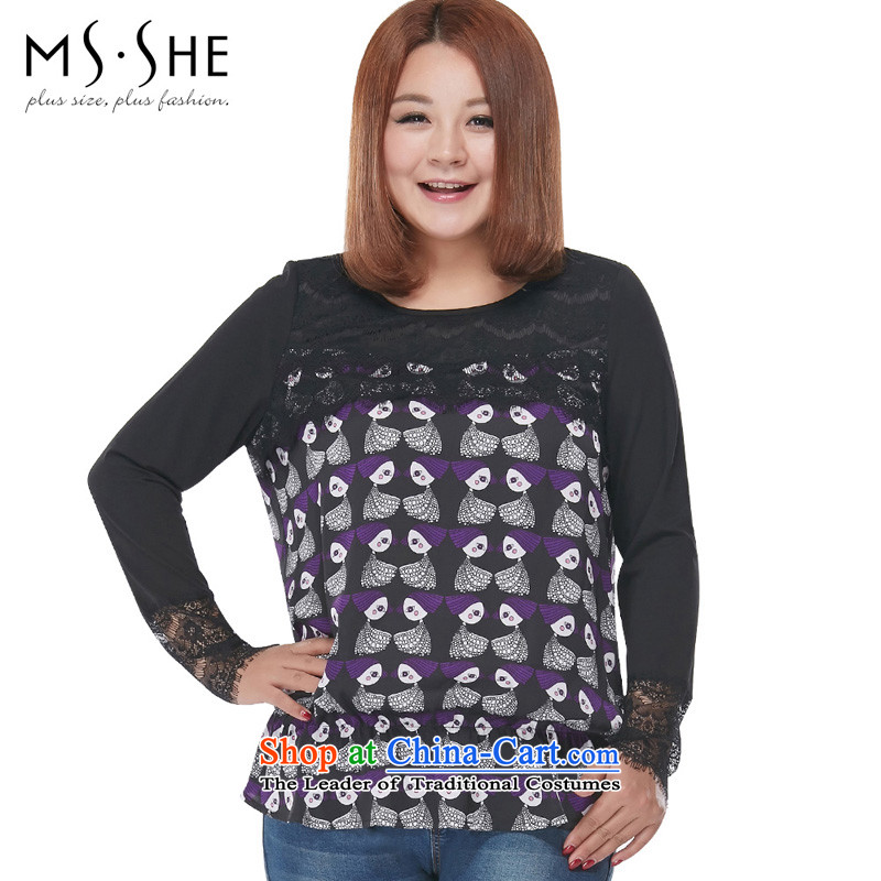 Msshe xl women 2015 new boxed sweet ladies autumn stamp lace long-sleeved T-shirt with round collar 2562 Black 5XL stamp