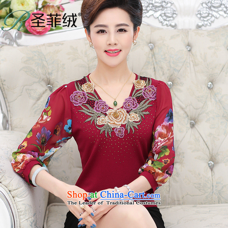 Santa Fe 2015. For older women, lint-free with the spring and summer load new chiffon sleeve t-shirt mother knitted thin, middle-aged women clothes red L