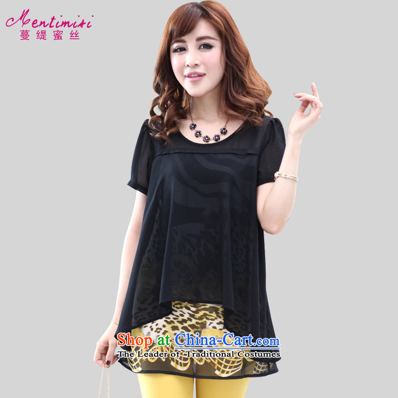 Overgrown Tomb economy honey silk thick MM2015 summer new stylish Sau San video thin leave two large chiffon M1306 T-shirt  5XL black