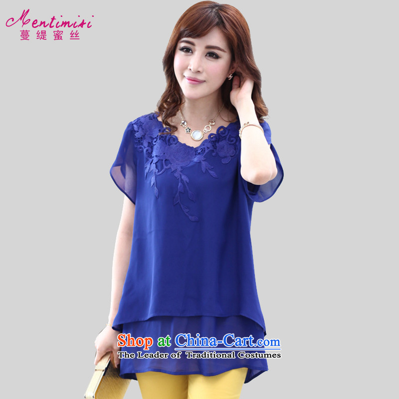 Golden Harvest large population honey economy women 2015 Summer new products niba cuff embroidered long chiffon shirt thick sister T-shirt M1314  XXXL blue