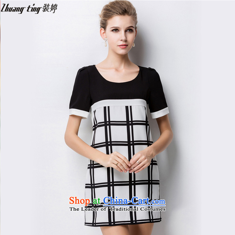 Replace zhuangting Ting 2015 Summer new high-end western thick mm larger female plus snow woven short-sleeved dresses 1335 Black XL