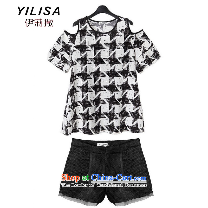 Large European and American women YILISA load new summer thick mm bare shoulders, short-sleeved T-shirt with coffered dolls shirt+A version packaged C5833 shorts kit picture color XL