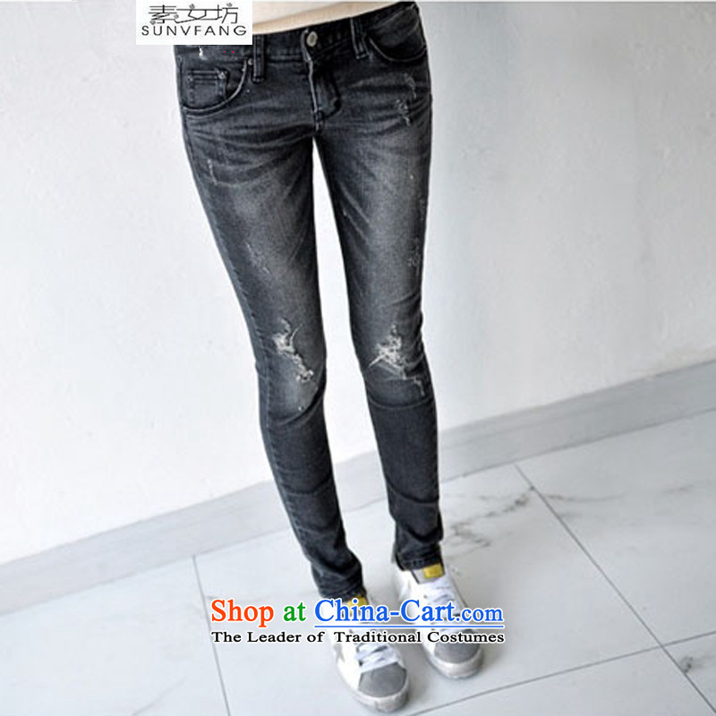 Motome Workshop 2015 new Korean version of the hole in the summer stretch jeans large Fat MM female 200 catties version 6106 Jeans Smoke Gray 40 recommendations 180-200