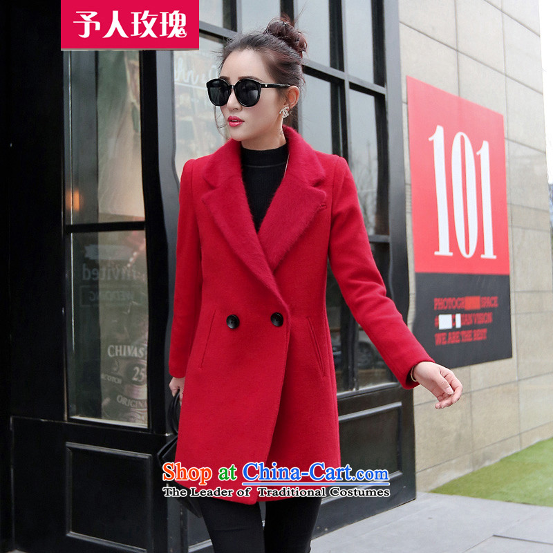 Be 2015 autumn and winter rose in new long hair? jacket coat women throughout the wool cashmere cloak? female red L58 RED?M