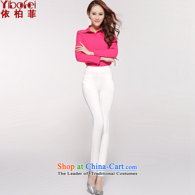 In accordance with the perfect 2015 Spring sister thick outer side forming the new Korean high elasticity trousers large waist video thin leisure castor trousers Y2097 White XL